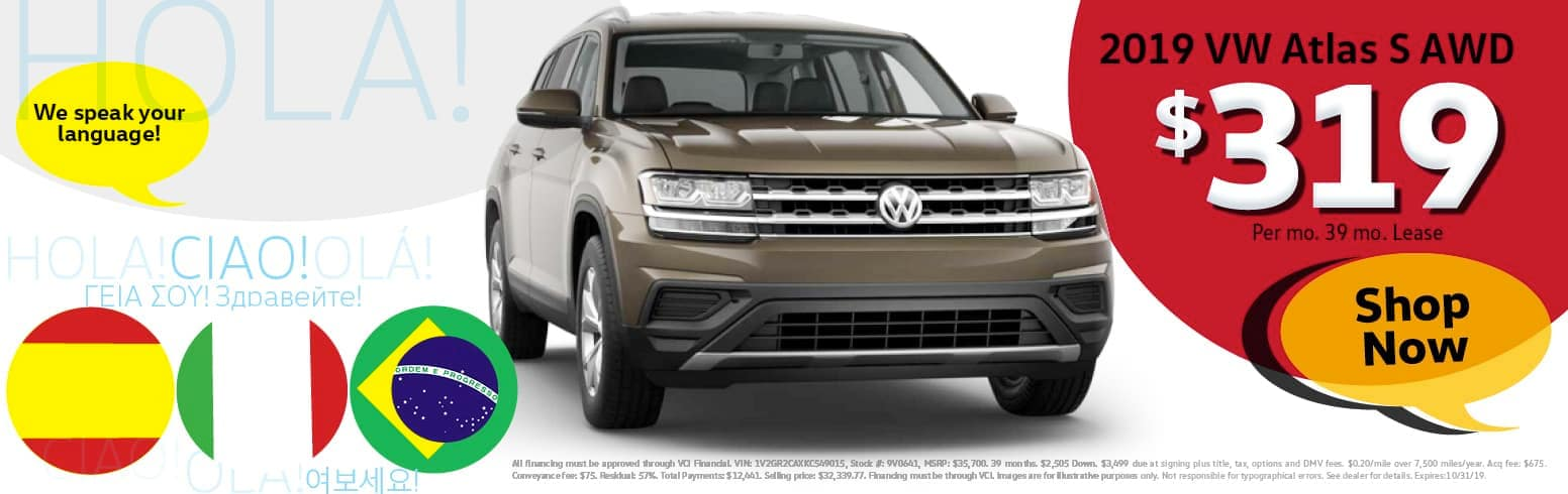Lease a 2019 Volkswagon Atlas for $319 per month for 39 months