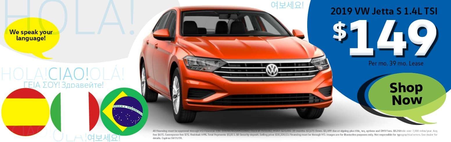 Lease a 2019 Volkswagon Jetta for $149 per month for 39 months