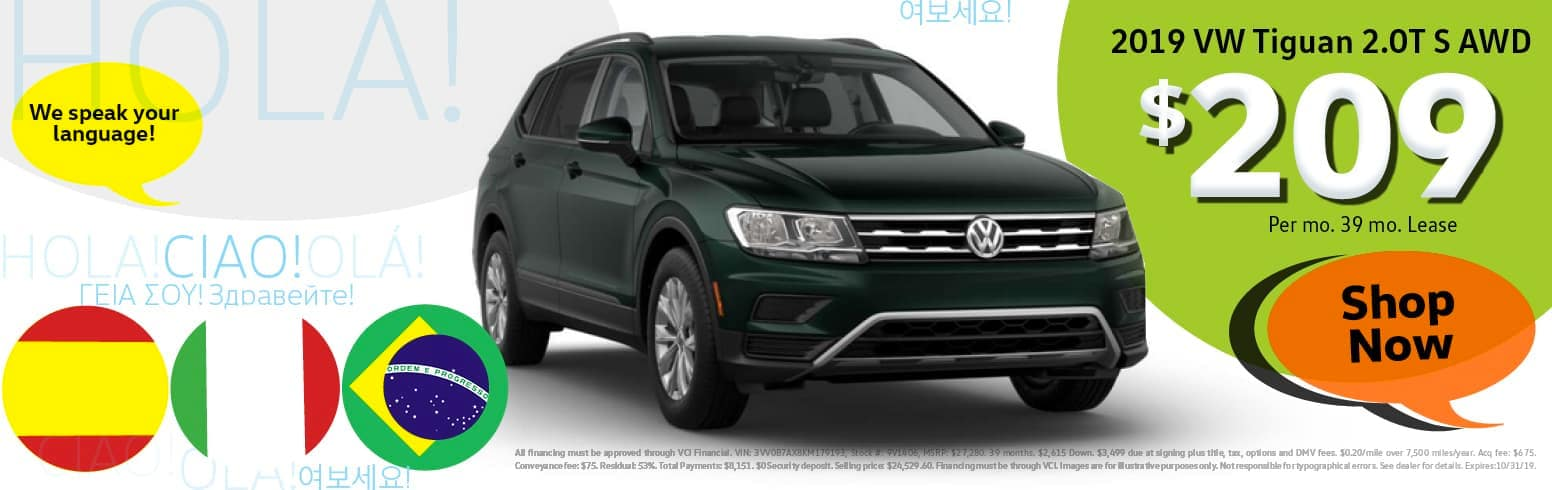 Lease a 2019 Volkswagon Tiguan for $209 per month for 39 months