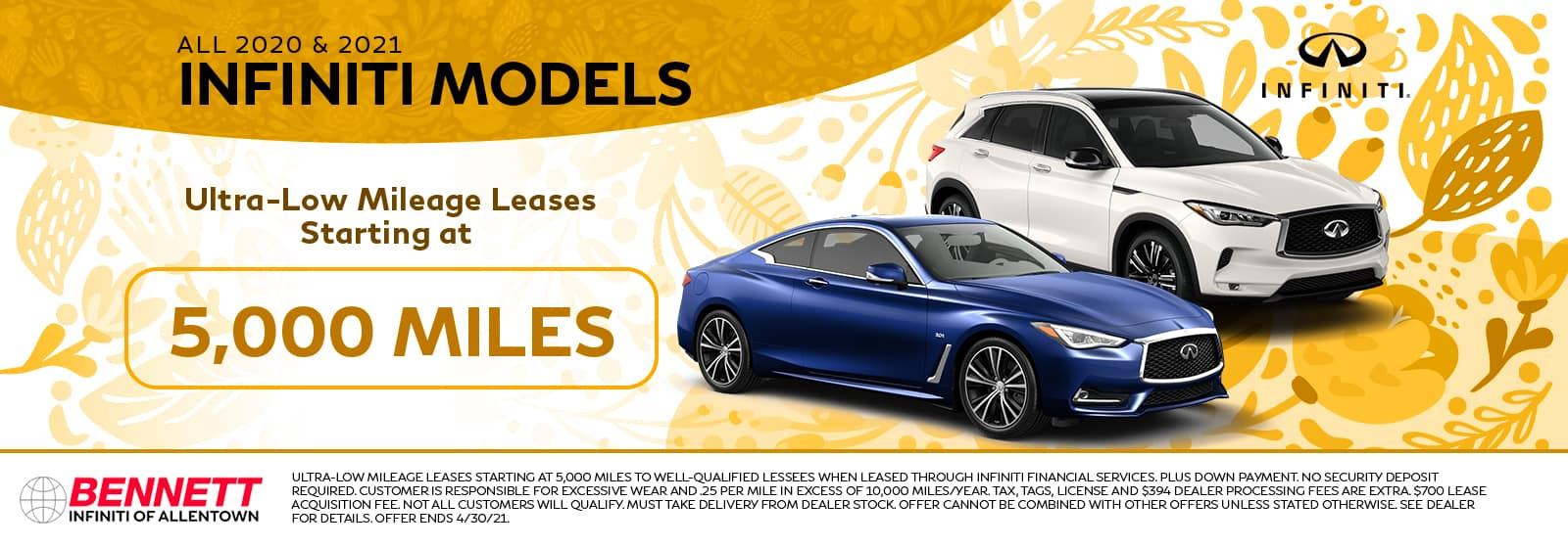 All 2020 & 2021 INFINITI Models - Ultra-low mileage leases starting at 5,000 miles!