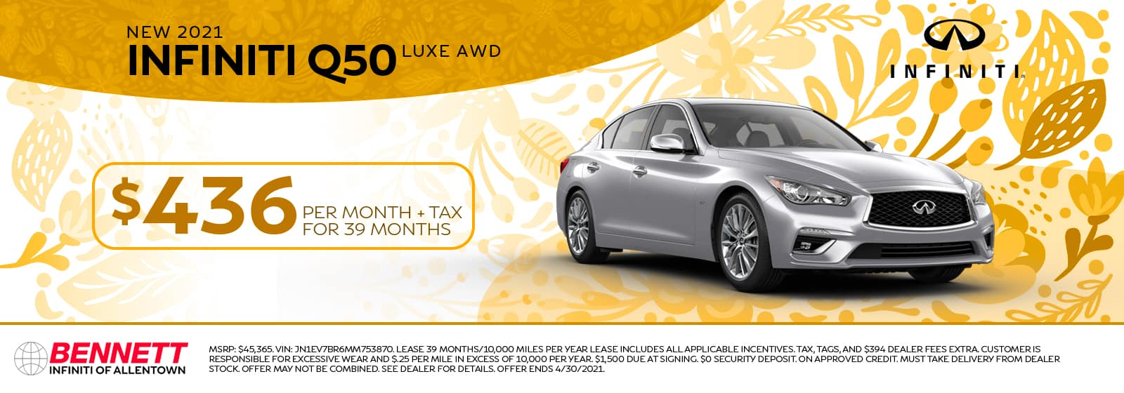 New 2021 INFINITI Q50 Luxe AWD - Lease $436 per month + tax for 39 months.