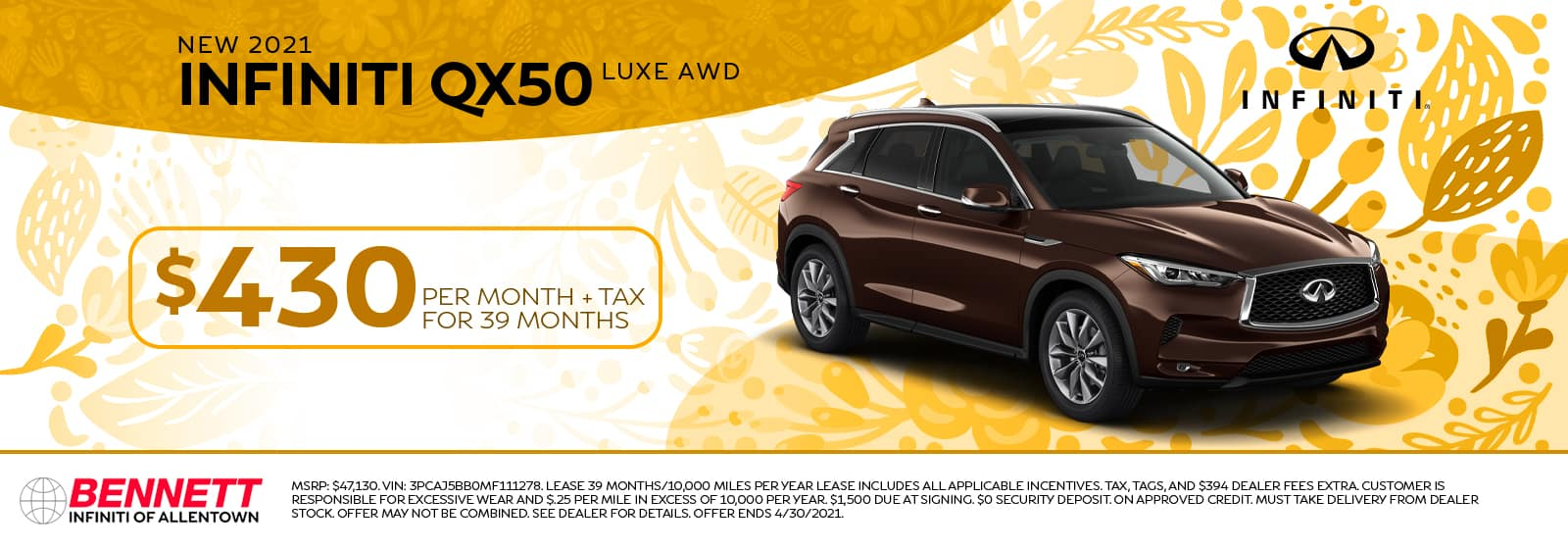 New 2021 INFINITI QX50 Luxe AWD - Lease $430 per month + tax for 39 months.