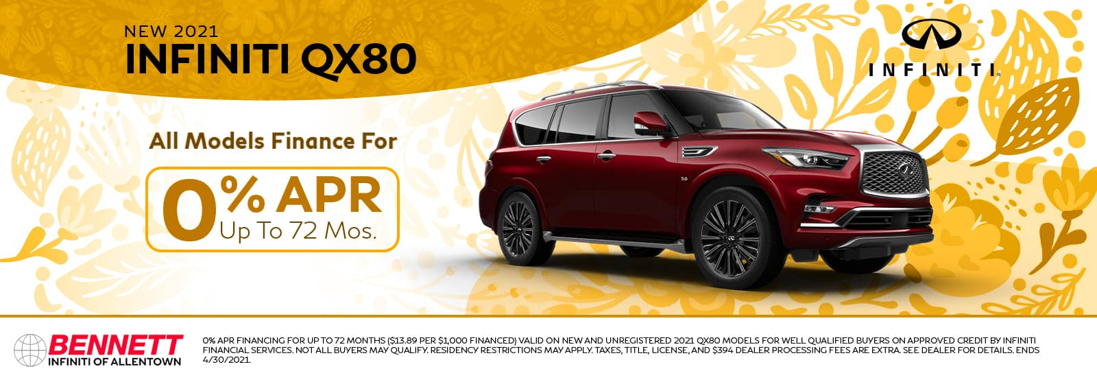 New 2021 INFINITI QX80 - All models finance for 0% APR up to 72 months.