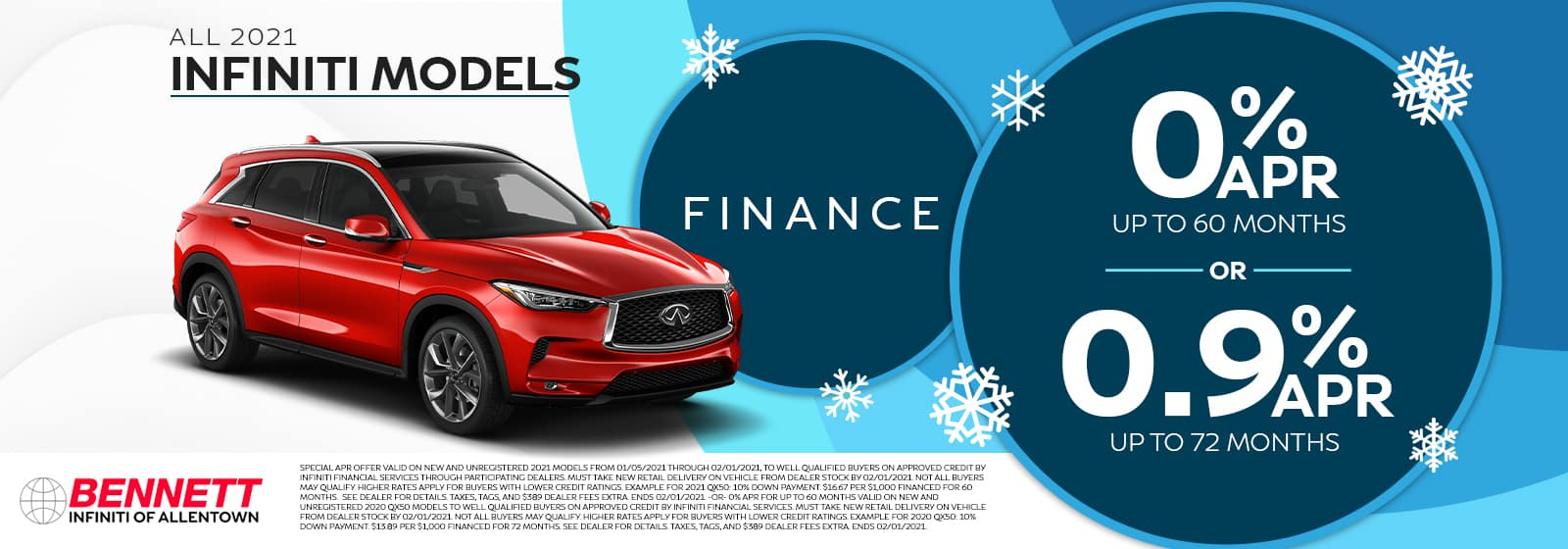 All 2021 INFINITI Models - Finance for 0% APR up to 60 months or for 0.9% APR up to 72 months.