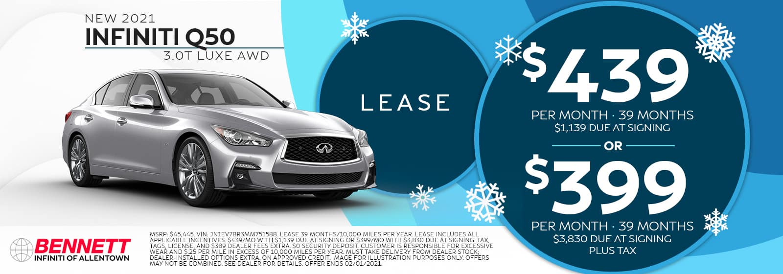 New 2021 INFINITI Q50 3.0T LUXE AWD - Lease for $439 per month for 39 months with $1,139 due at signing OR finance for $399 per month for 39 months with $3,830 due at signing (plus tax).