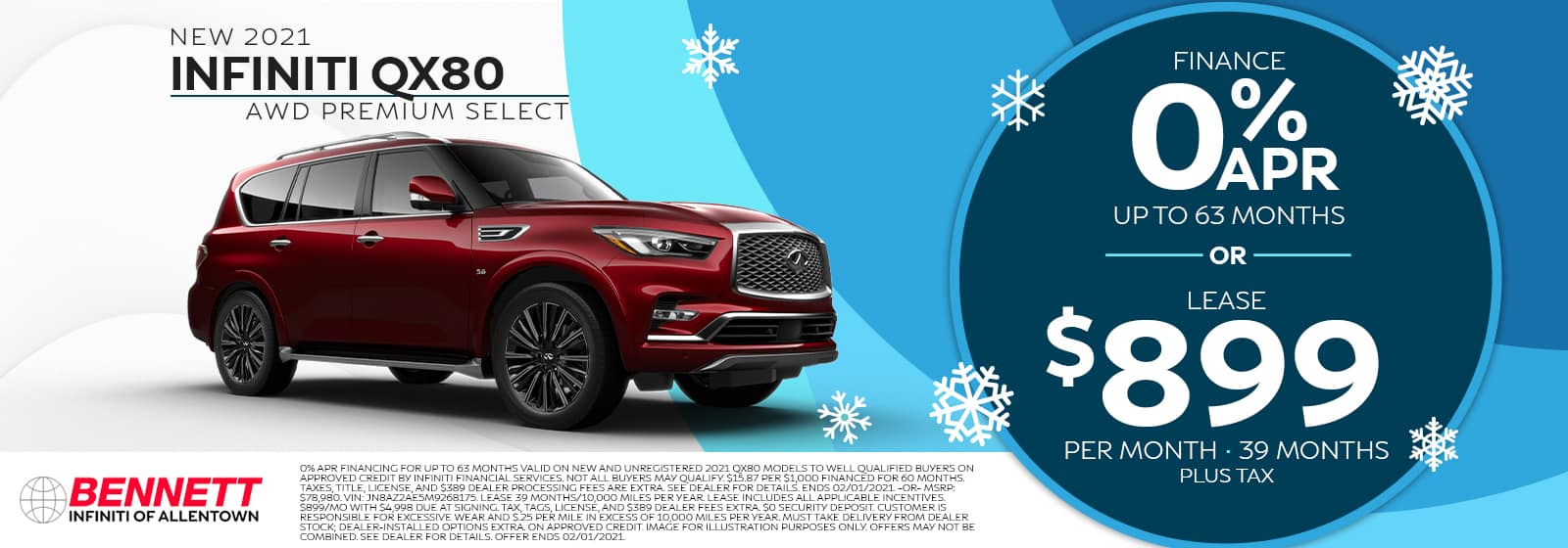 New 2021 INFINITI QX80 AWD Premium Select - Finance for 0% APR for up to 63 months or lease for $899 per month for 39 months (plus tax).