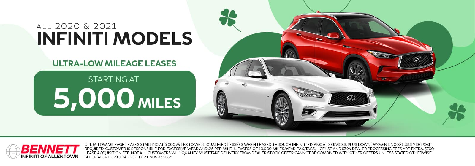 All 2020 $ 2021 INFINITI Models - Ultra-low mileage leases starting at 5,000 miles.