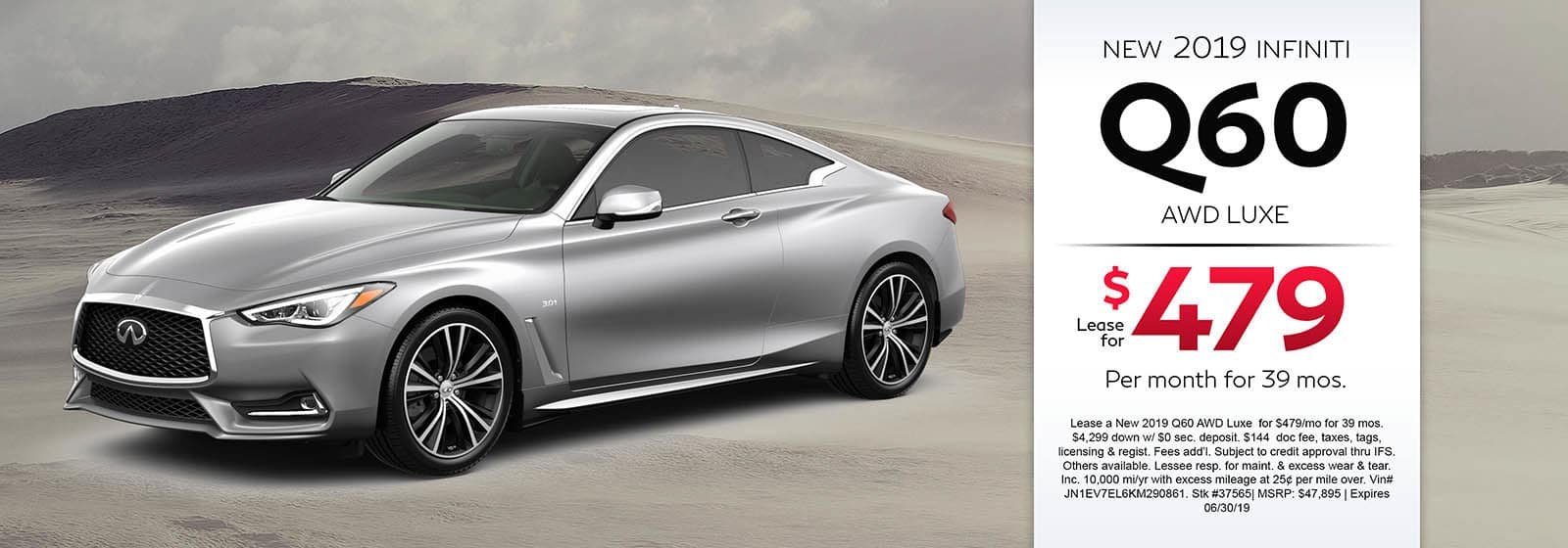 2019 INFINITI Q60 AWD LUXE Lease For $479