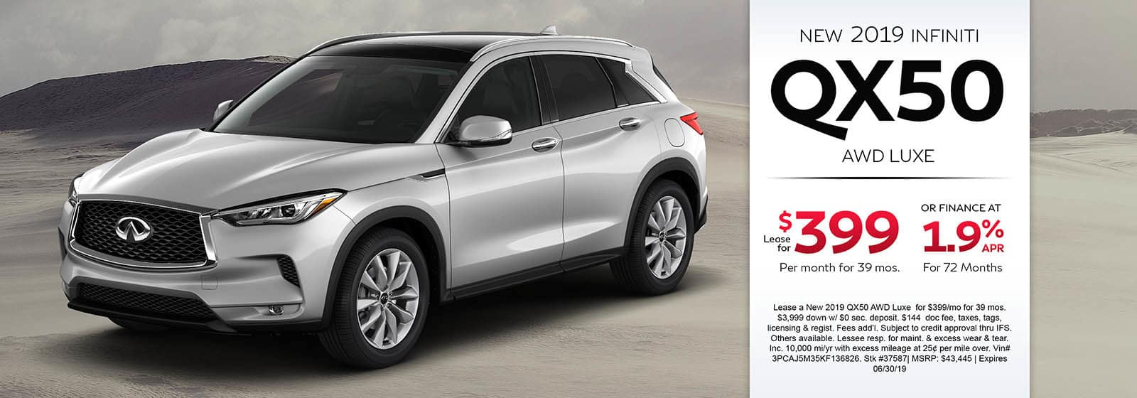 2019 INFINITI QX50 AWD LUXE Lease For $399