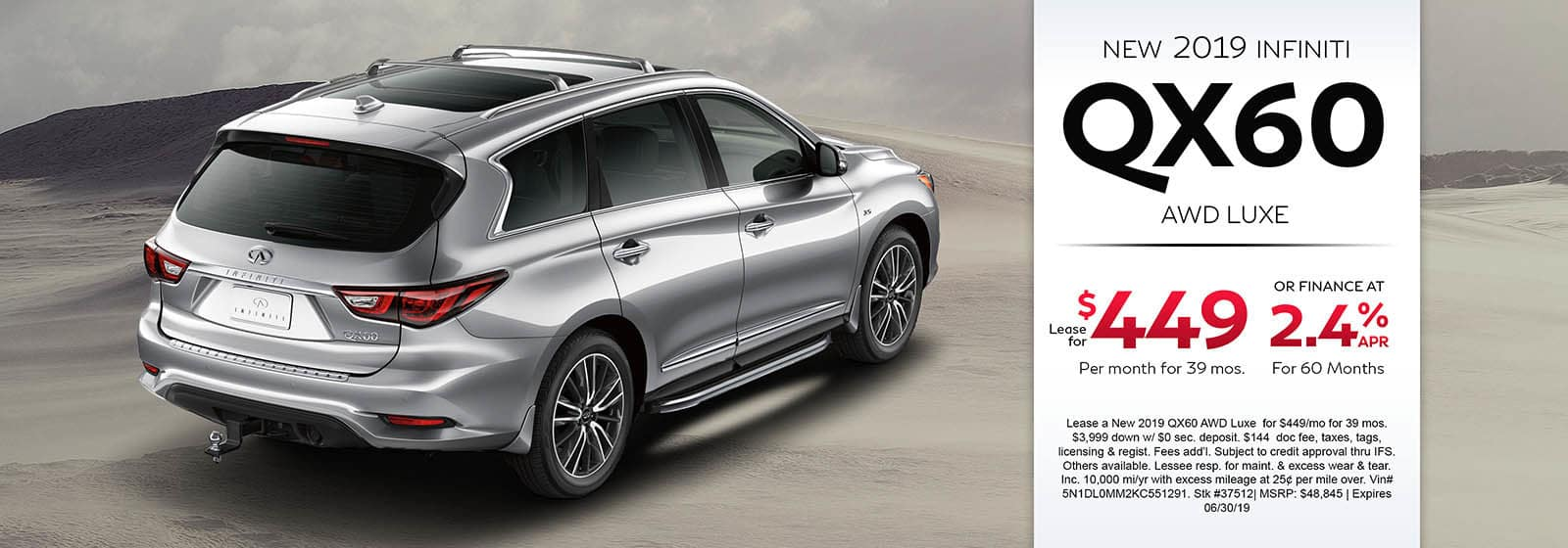 2019 INFINIT QX60 AWD LUXE Lease For $449