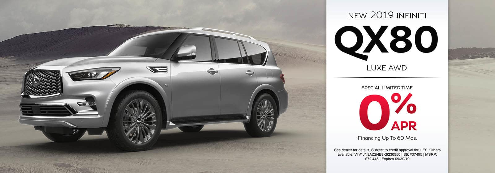 2019 INFINITI QX80 Luxe AWD | Get special 0% APR financing for up to 60 months