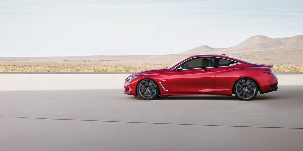 2020 Red INFINITI Q60 on Open Road