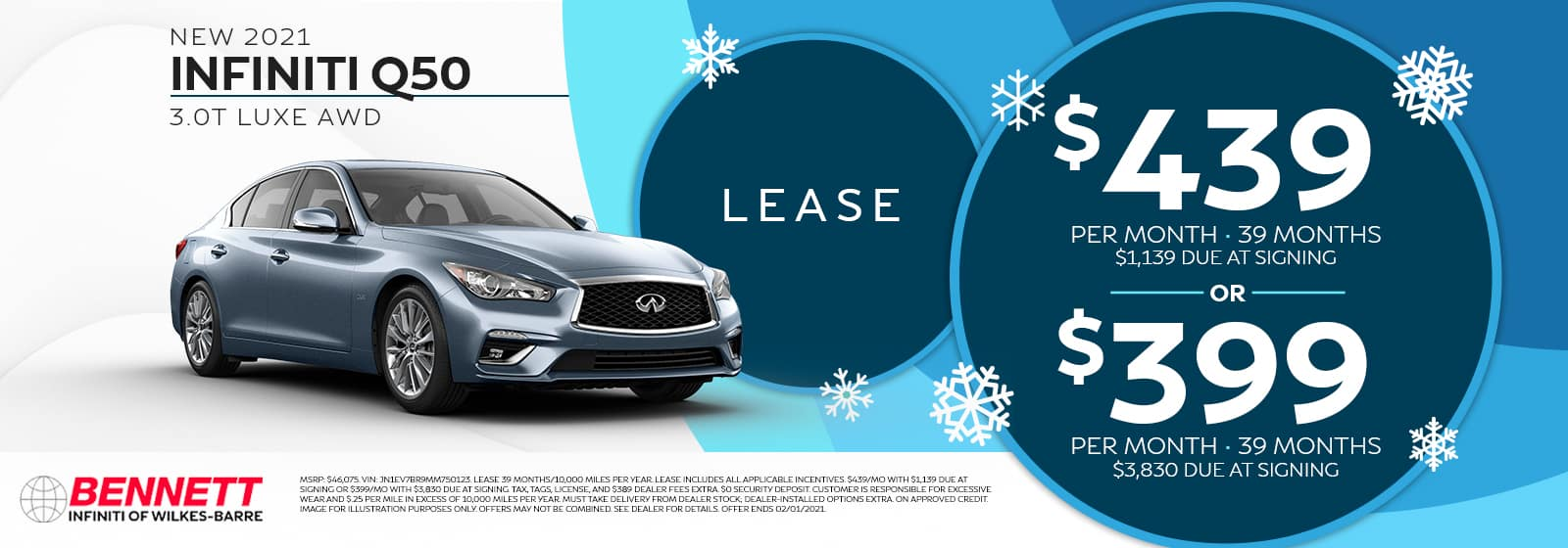 New 2021 INFINITI Q50 3.0T LUXE AWD - Lease for $439 per month for 39 months with $1,139 due at signing, OR for $399 per month for 39 months with $3,830 due at signing.