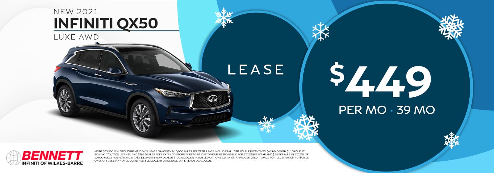 New 2021 INFINITI QX50 LUXE AWD - Lease for $449 per month for 39 months.