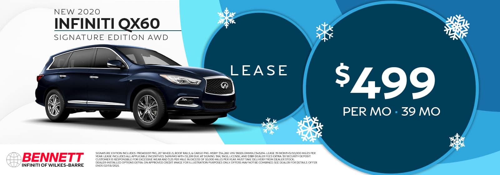 New 2020 INFINITI QX60 Signature Edition AWD - Lease for $499 per month for 39 months.