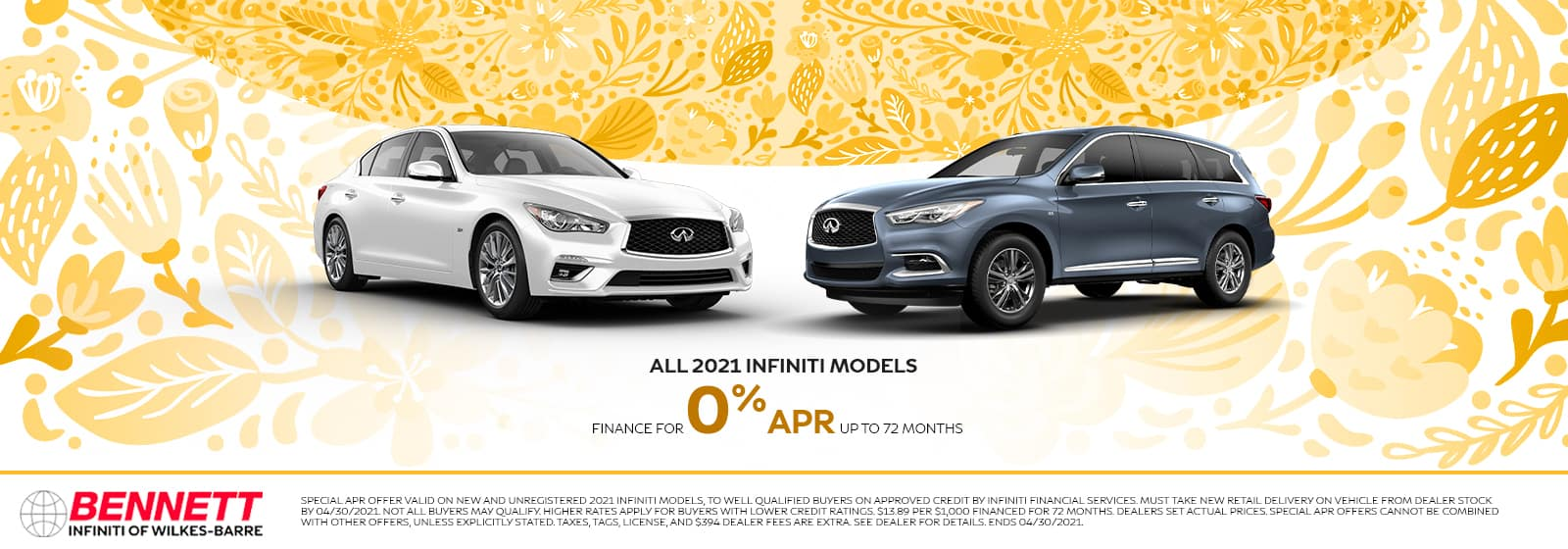 All 2021 INFINITI Models - finance for 0% APR up to 72 months.