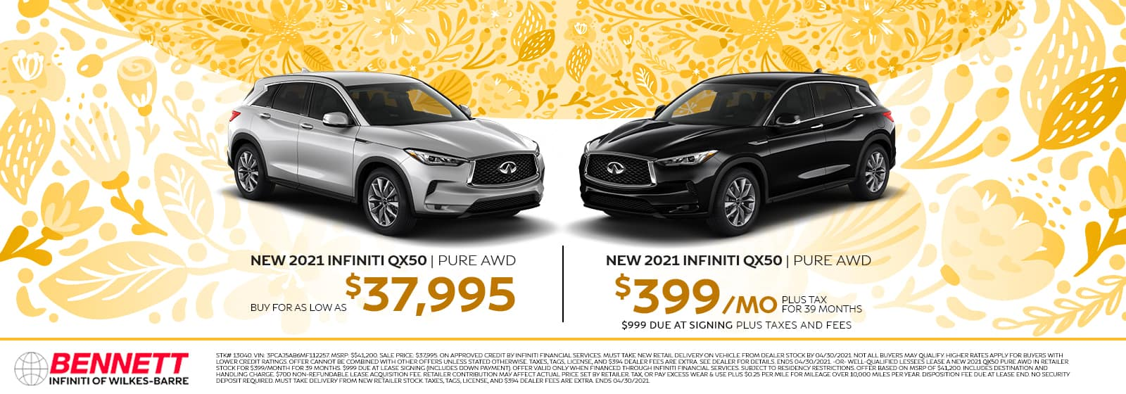 New 2021 INFINITI QX50 Pure AWD - Buy for as low as $37,995 | New 2021 INFINITI QX50 Pure AWD - $399/mo plus tax for 39 months, $399 due at signing plus taxes and fees.