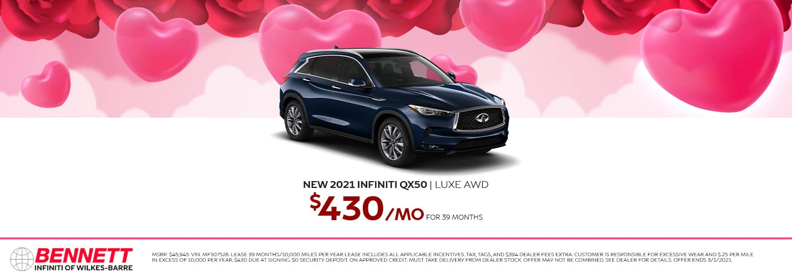 New 2021 INFINITI QX50 LUXE AWD - $430/mo for 39 months.