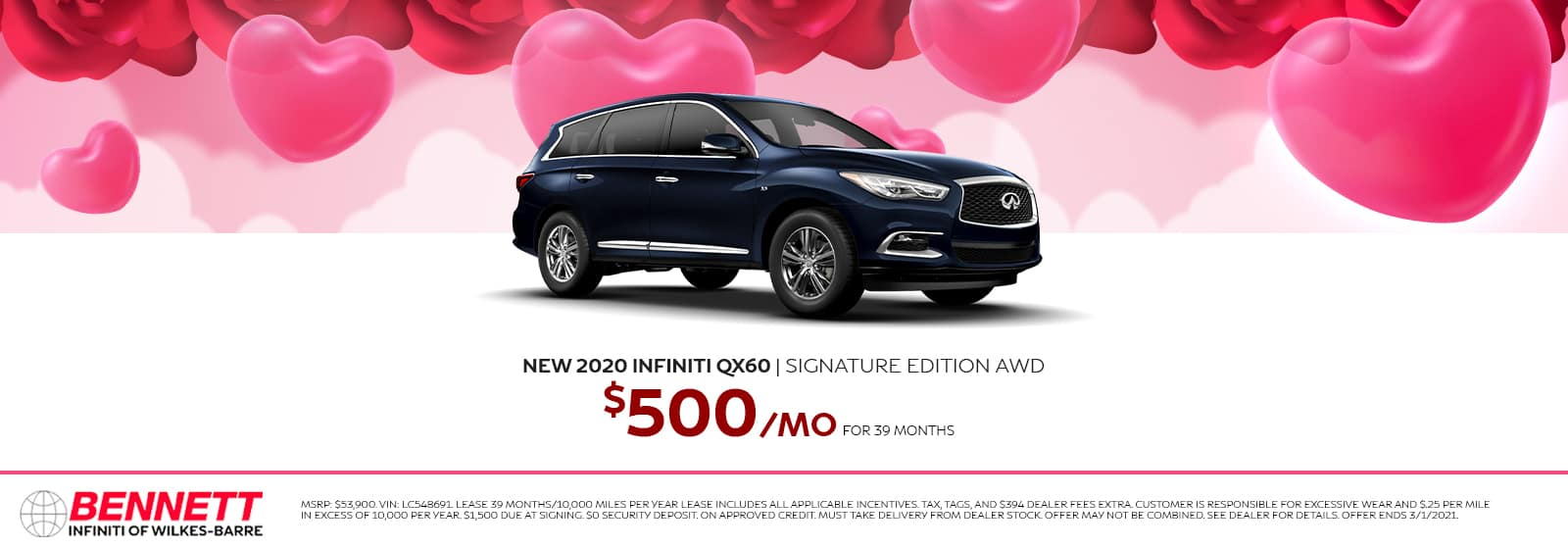 New 2020 INFINITI QX60 Signature Edition AWD - $500/mo for 39 months.