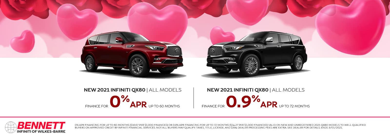 New 2021 INFINITI QX80 (All Models) - Finance for 0% APR up to 60 months or finance for 0.9% APR up to 72 months.