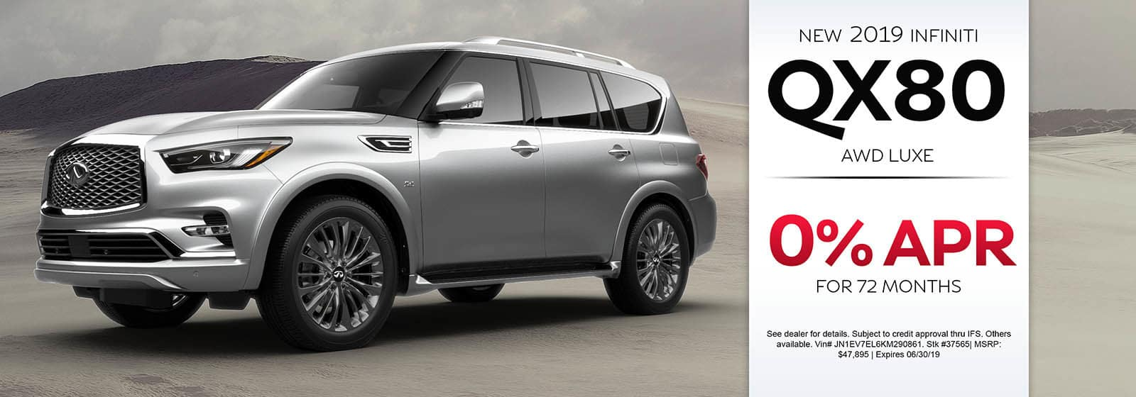 2019 INFINITI QX80 AWD LUXE 0% APR For 72 Months