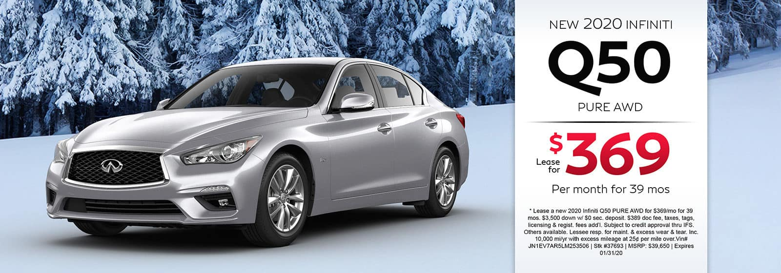 Lease a new 2020 INFINITI Q50 PURE AWD for $369 a month for 39 months.