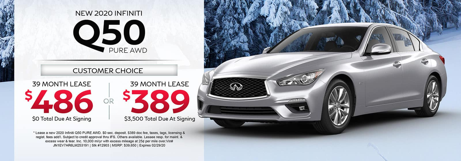 Lease a new 2020 INFINITI Q50 PURE AWD for 39 months.