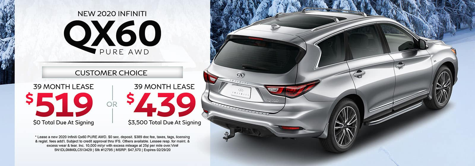 Lease a new 2020 INFINITI QX60 PURE AWD for 39 months.