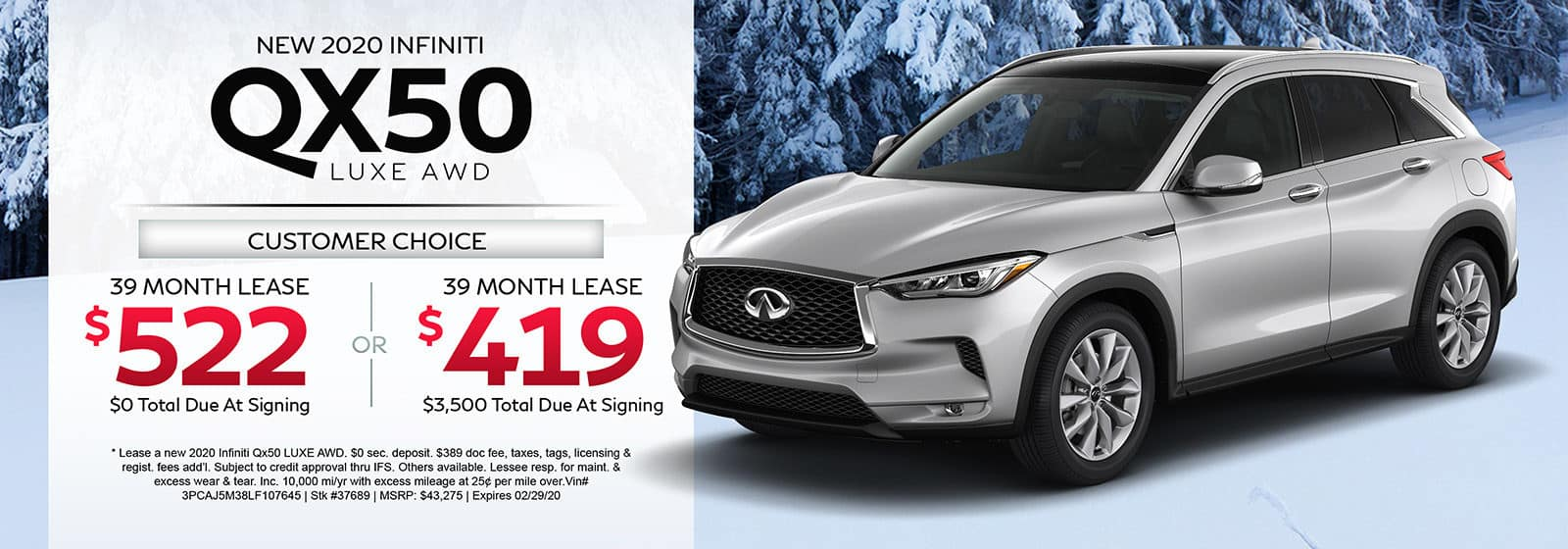 Lease a new 2020 INFINITI QX50 LUXE AWD for 39 months.