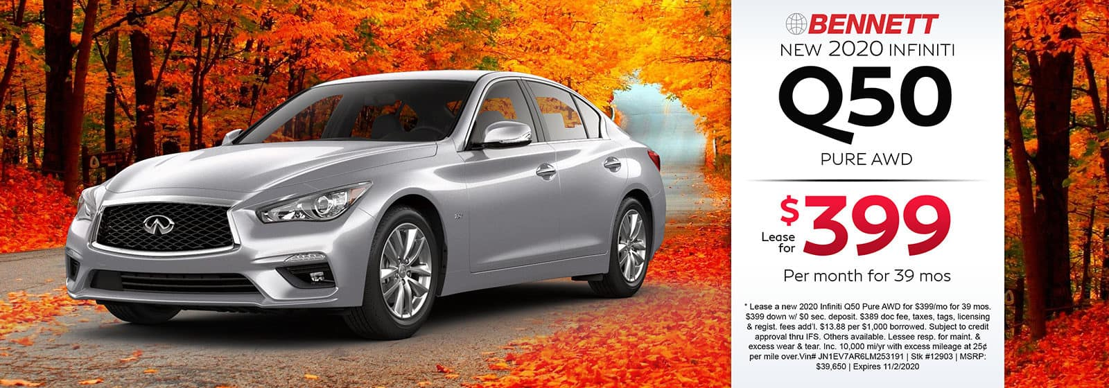 Lease a new 2020 INFINITI Q50 Pure AWD for $399 a month for 39 months. Or get special 0% APR financing for up to 72 months