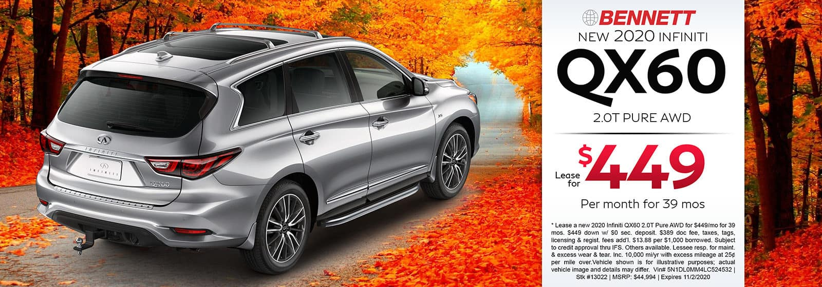 Lease a new 2020 INFINITI QX60 2.0T Pure AWD for $449 a month for 39 months. Or get special 0% APR financing for up to 72 months