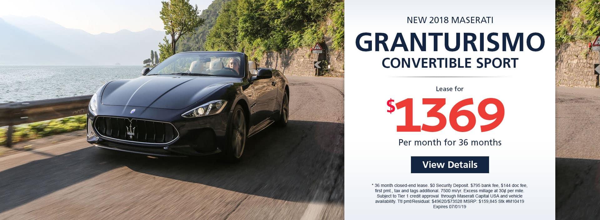 2019 MASERATI GRANTURISMO CONVERTIBLE SPORT Lease For $1369