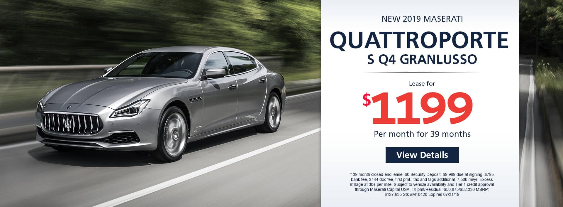 Lease a new 2019 MASERATI QUATTROPORTE SQ4 GRANLUSSO for $1,199 a month for 39 months.