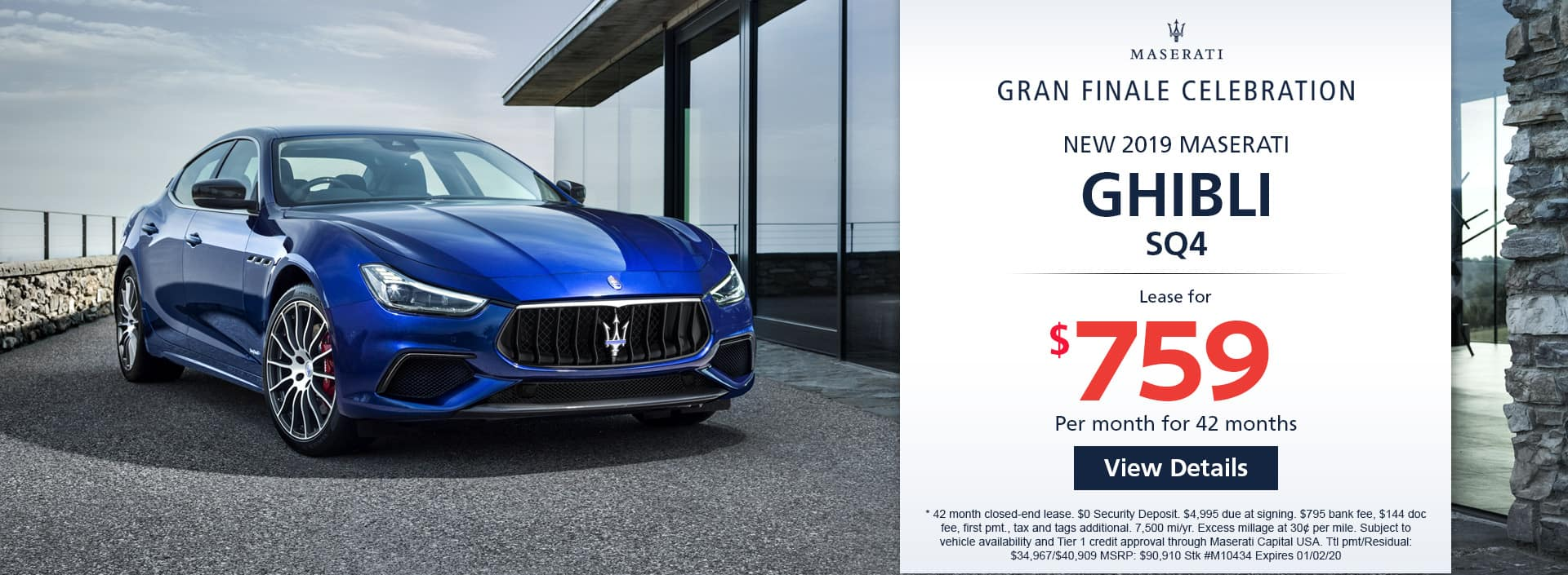 Lease a new 2019 MASERATI GHIBLI SQ4 for $759 a month for 42 months. Or get special 0% APR financing for up to 60 months or 0% APR financing up to 72 months
