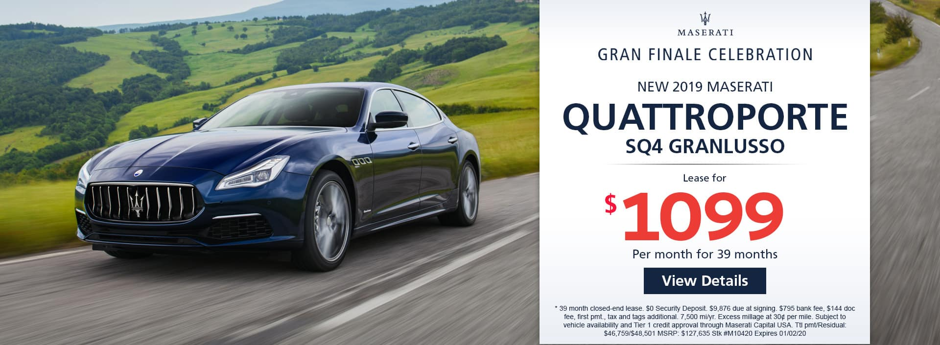 Lease a new 2019 MASERATI QUATTROPORTE SQ4 GRANLUSSO for $1,099 a month for 39 months. Or get special 0% APR financing for up to 60 months or 0% APR financing up to 72 months
