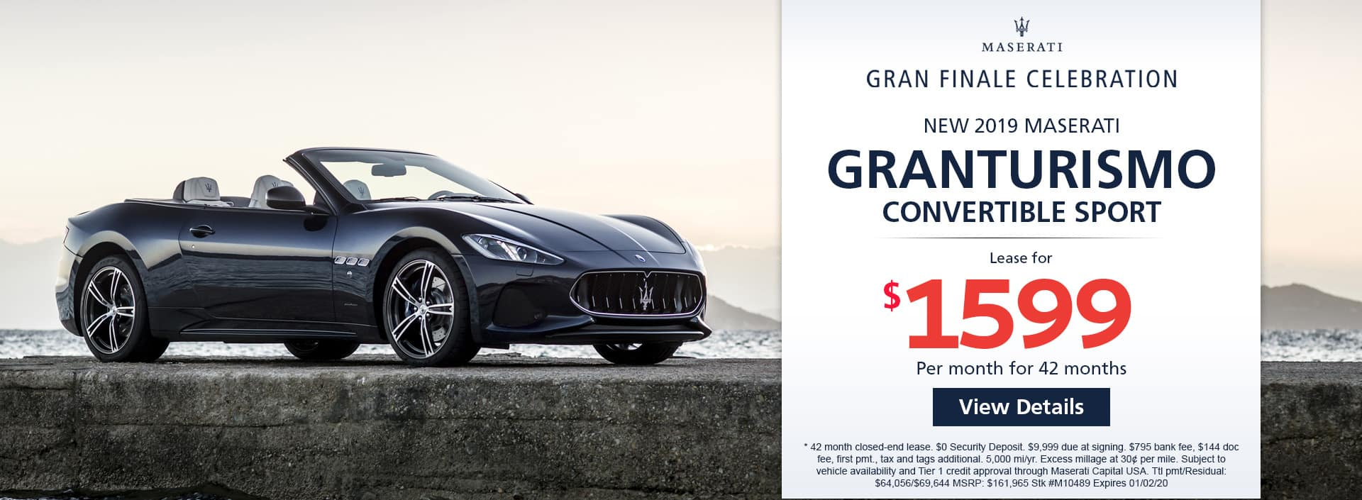 Lease a new 2019 MASERATI GRANTURISMO CONVERTIBLE SPORT for $1,599 a month for 42 months. Or get special 0% APR financing for up to 60 months or 0% APR financing up to M1048 months