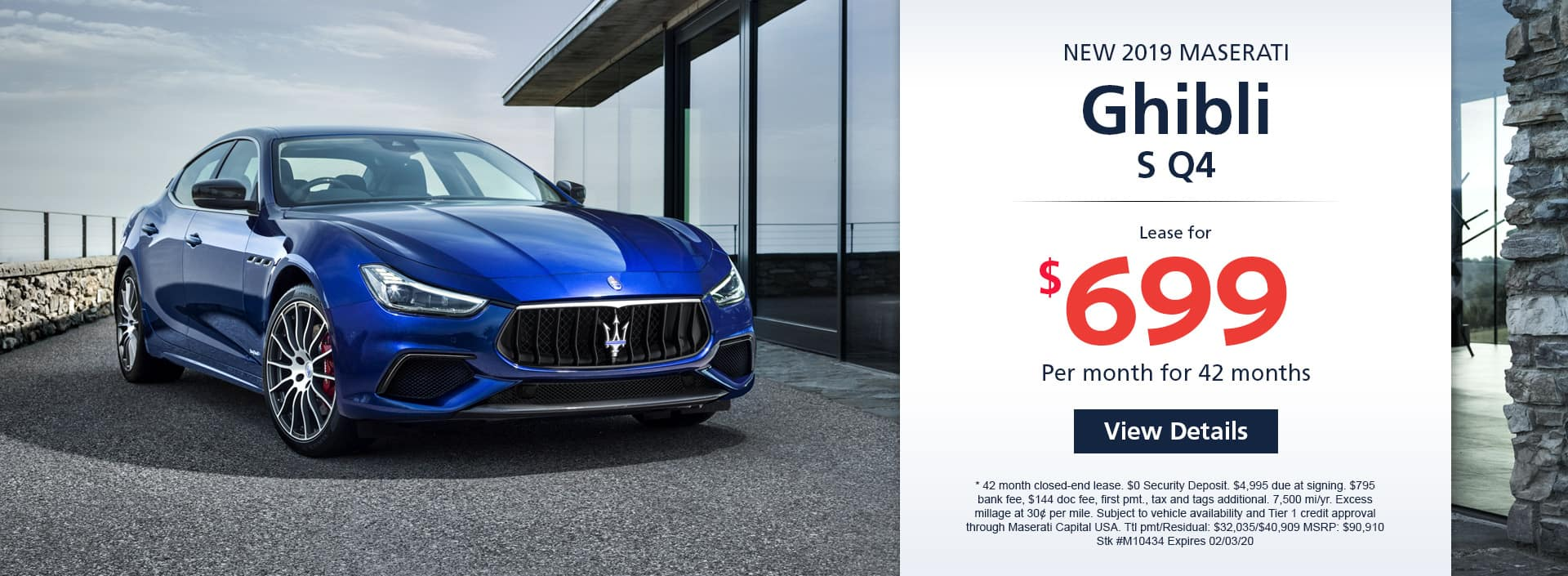 Lease a new 2019 Maserati Ghibli S Q4 for $699 a month for 42 months. Or get special 0% APR financing for up to 60 months or 0% APR financing up to 72 months