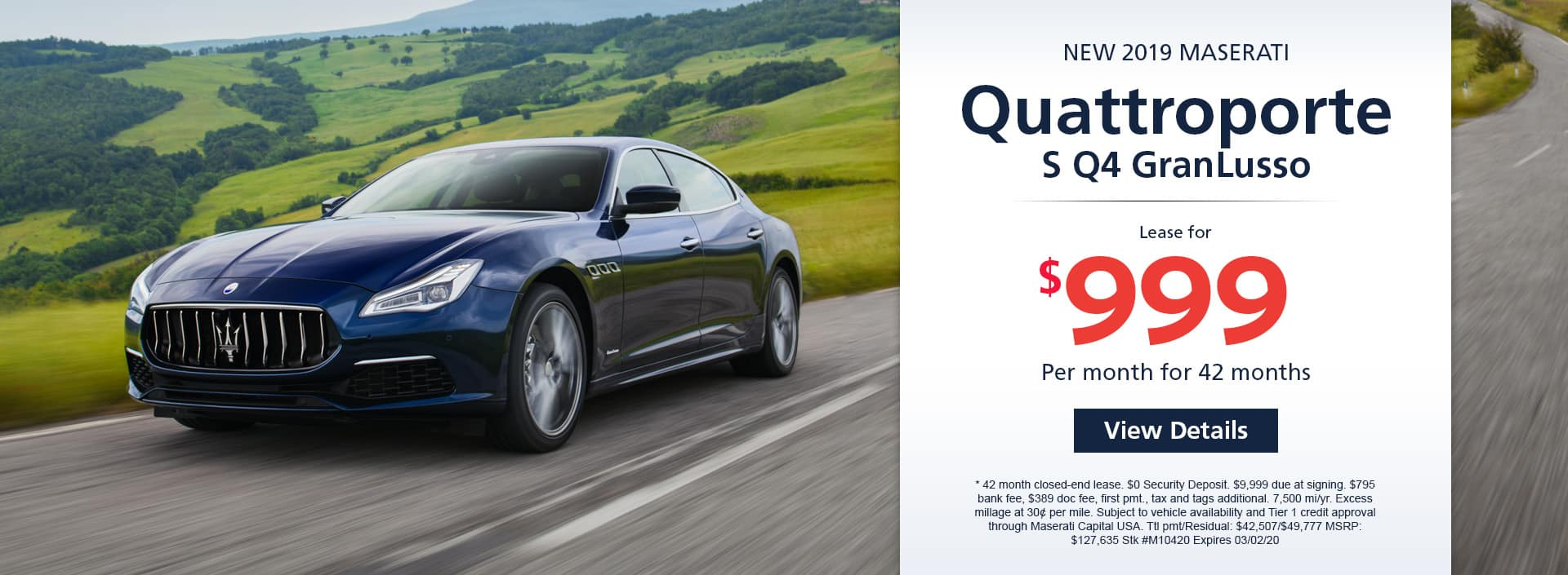 Lease a new 2019 Maserati Quattroporte S Q4 GranLusso for $999 a month for 42 months. Or get special 0% APR financing for up to 60 months or 0% APR financing up to 84 months
