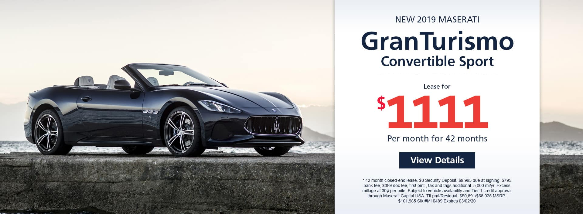 Lease a new 2019 Maserati GranTurismo Convertible Sport for $1,111 a month for 42 months. Or get special 0% APR financing for up to 60 months or 0% APR financing up to 84 months