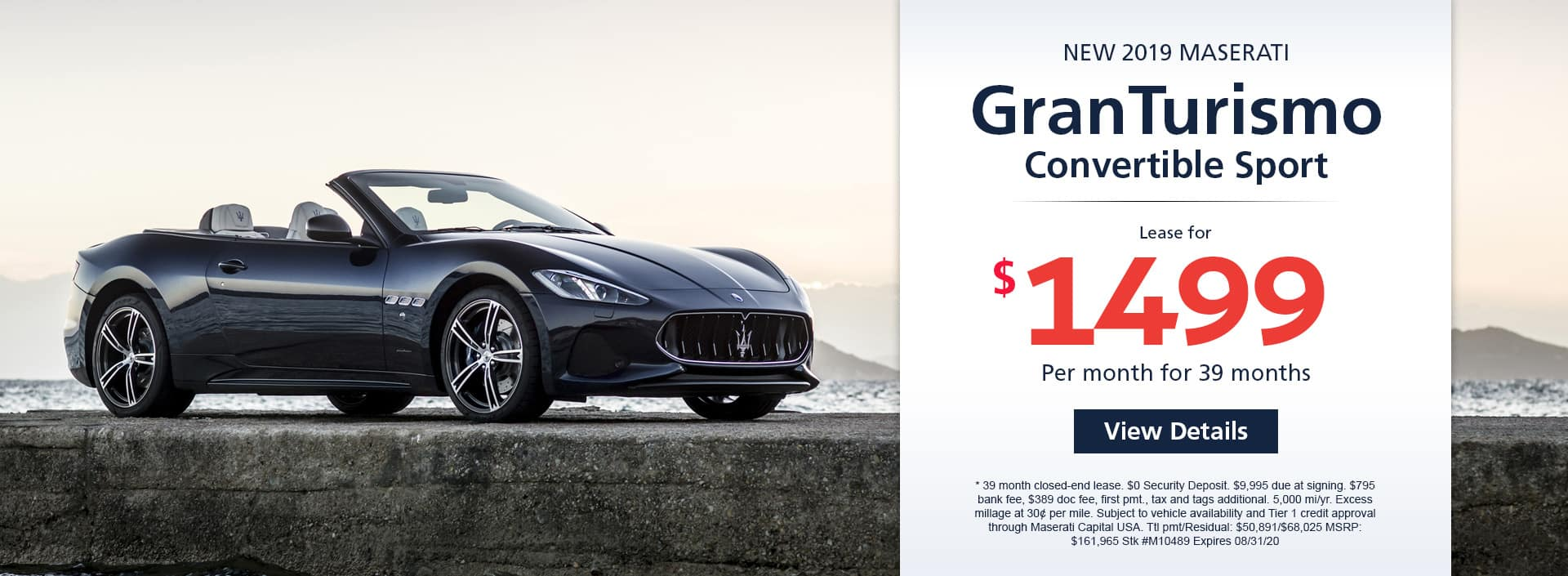Lease a new 2019 Maserati GranTurismo Convertible Sport for $1,499 a month for 39 months. Or get special 0% APR financing for up to 60 months or 0% APR financing up to 84 months