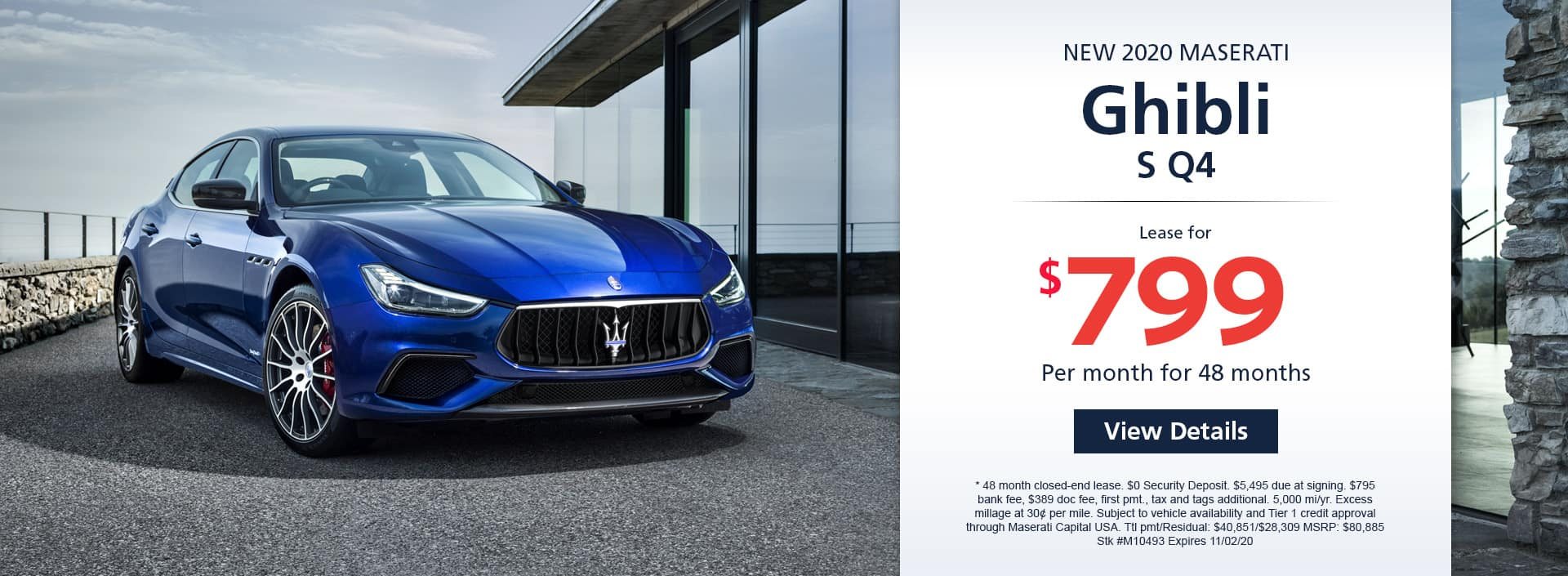 Lease a new 2020 Maserati Ghibli S Q4 for $799 a month for 48 months. Or get special 0% APR financing for up to 60 months or 0% APR financing up to months