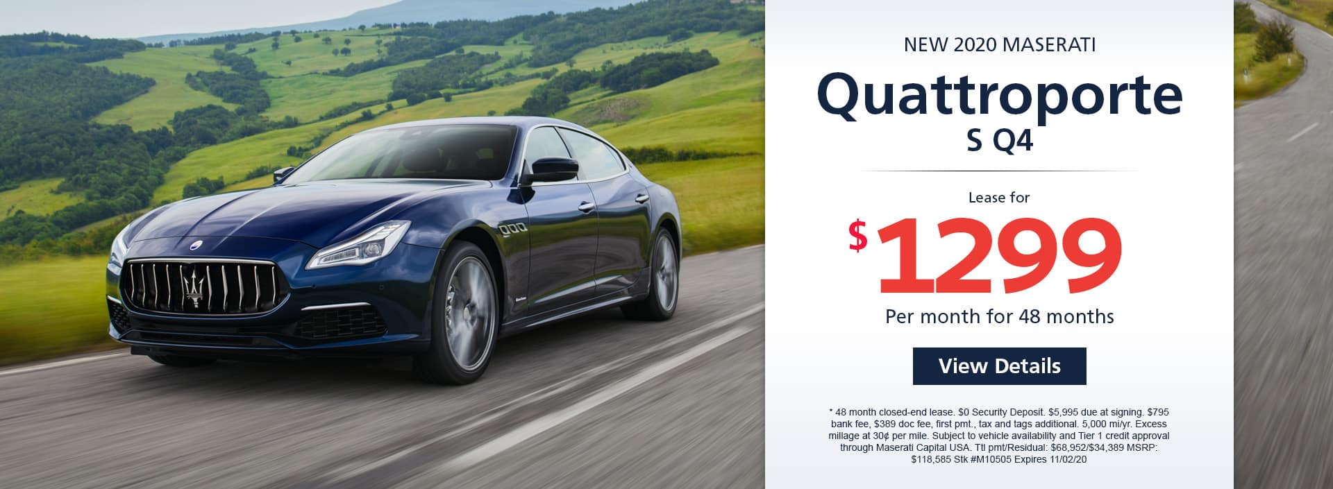 Lease a new 2020 Maserati Quattroporte S Q4 for $1,299 a month for 48 months. Or get special 0% APR financing for up to months or 0% APR financing up to months