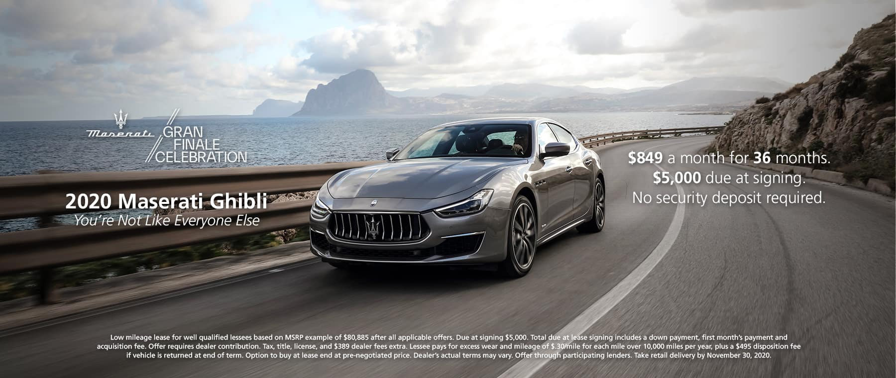 2020 Maserati Ghibli $849 a month for 36 months. $5,000 due at signing. No security deposit required.