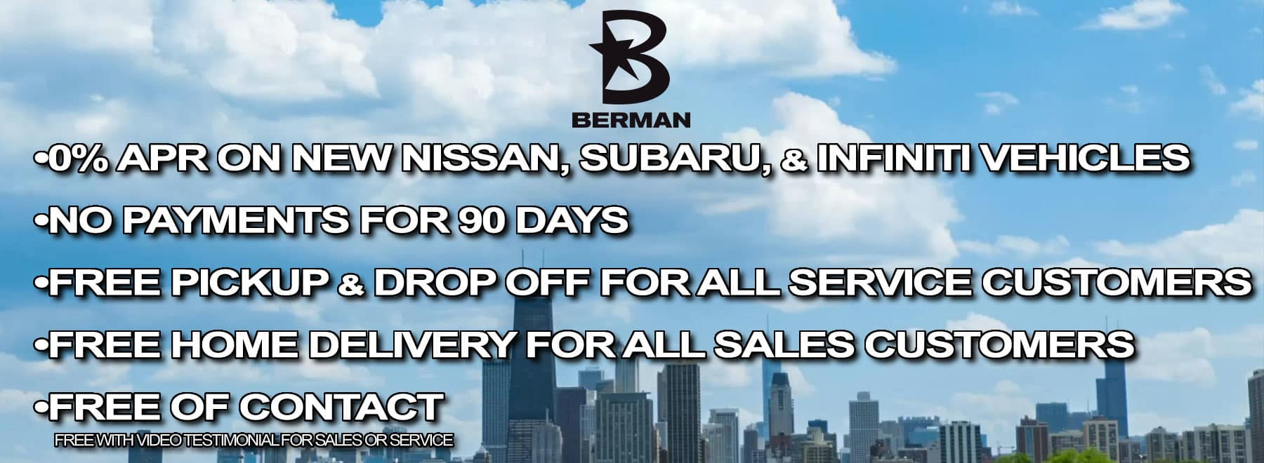 Get FREE Pickup and Delivery for Service Customers and FREE In-Home Delivery with Berman Express, all FREE of contact
