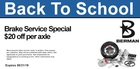 Back To School Special: Brake Service Special: $20 OFF per axle