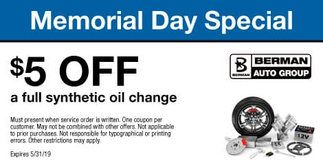 Memorial Day Special: $5 OFF a full synthetic oil change
