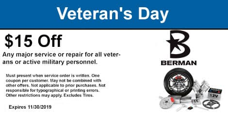 Veteran's Day Special: $15 OFF any major Service or repair for all veterans or active military personnel