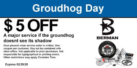 Groundhog Day Special: If the groundhog doesn't see his shadow, recieve $5 off any service or repair