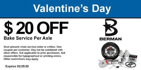 Valentine's Day Special: Brake Service Special: $20 off per axle