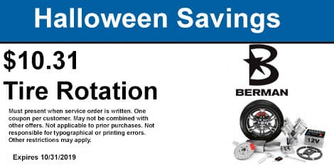Halloween Savings: $10.31 Tire Rotation